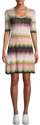 M Missoni Short Chevron Jacquard Short-Sleeve Dress