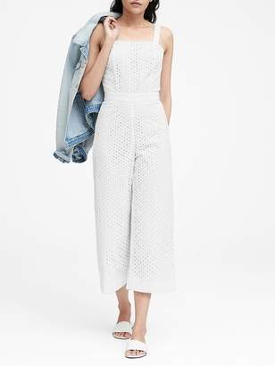 Banana Republic Petite Eyelet Cropped Jumpsuit