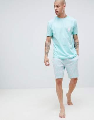 Asos DESIGN pyjama set with ice cream design in blue