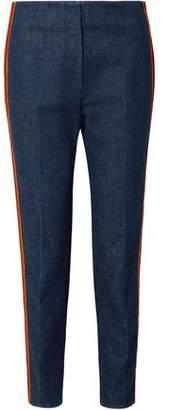 Calvin Klein Zip-detailed Striped High-rise Slim-leg Jeans