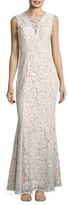 Betsy & Adam Lace Trumpet Gown $269 thestylecure.com