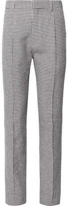 Wacko Maria Slim-Fit Pleated Gingham Linen-Blend Trousers