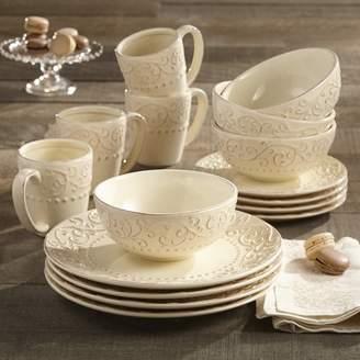 Lark Manor Yaelle Leaf Round 16 Piece Dinnerware Set, Service for 4