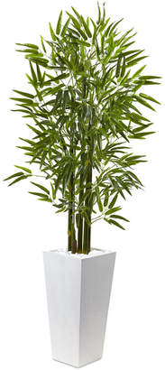 Nearly Natural 5' Bamboo Uv-Resistant Indoor/Outdoor Artificial Tree with White Planter