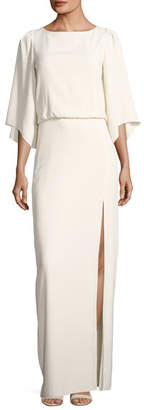 Halston Bateau-Neck Blouson Evening Gown w/ Embroidery Back