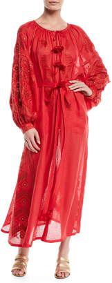Vita Kin Round-Neck Long-Sleeve Embroidered Linen Maxi Dress