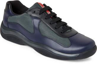 Prada Blue & Grey America's Cup Leather & Mesh Sneakers
