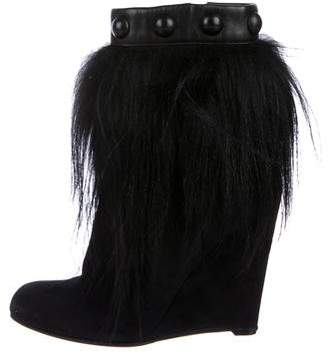 Sergio Rossi Suede Wedge Boots