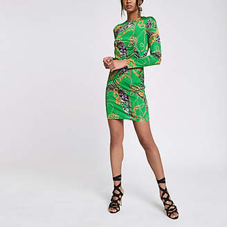 River Island Womens Green scarf print double layer dress