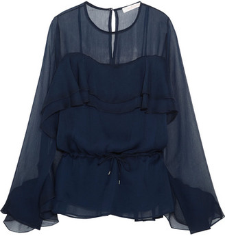 See by Chloé - Ruffled Chiffon Blouse - Navy $375 thestylecure.com