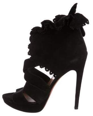 Alaia Suede Ruffle-Accented Sandals