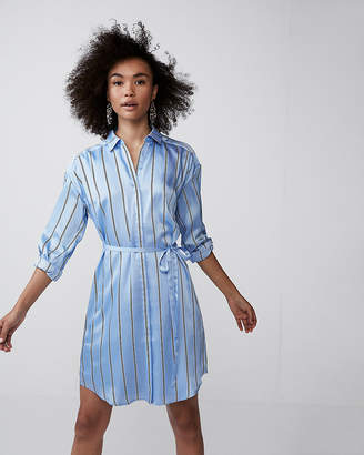 Express Petite Long Sleeve Striped Shirt Dress
