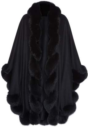 Harrods Spiral Fox Fur Trimmed Cape