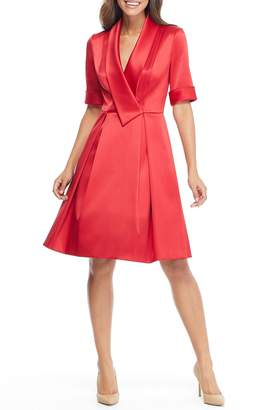 Gal Meets Glam Ruby Royal Satin Asymmetrical Collar Dress