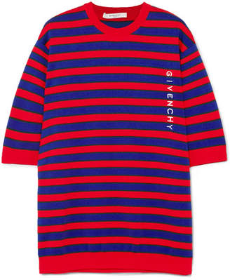 Striped Cotton-blend Sweater - Red