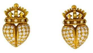 Kieselstein-Cord 18K Diamond Royal Heart Earclips