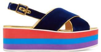 Gucci Peggy Velvet Platform Sandals - Womens - Navy Multi