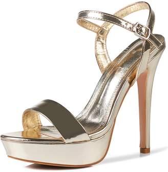 YooPrettyz Metallic Sandal High Heel Strap Dress Pump Ankle-Strap Sandal 6