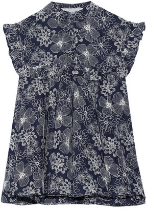 Co - Ruffled Embroidered Cotton-voile Top - Midnight blue $595 thestylecure.com