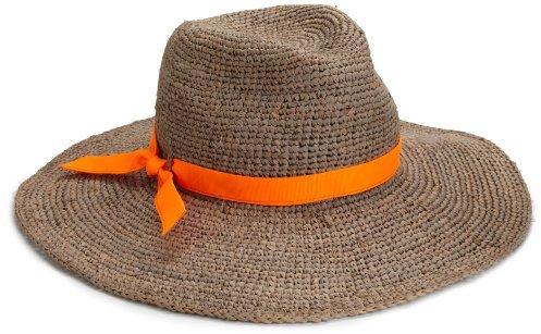 Hat Attack Women's Raffia Crochet Floppy Continental Hat