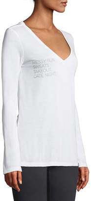For Better Not Worse Messy Bun Date night Long-Sleeve V-Neck Tee
