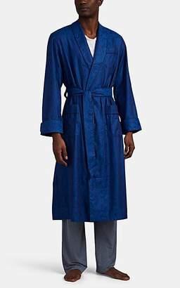 Derek Rose Men's Paris Palm-Patterned Cotton Robe - Navy