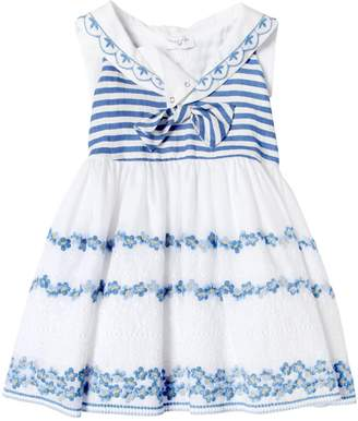MonnaLisa Sailor Muslin & Piqué Dress
