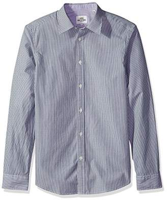 Ben Sherman Men's Long Sleeve Colored Ground Stripe Shirt-TBL