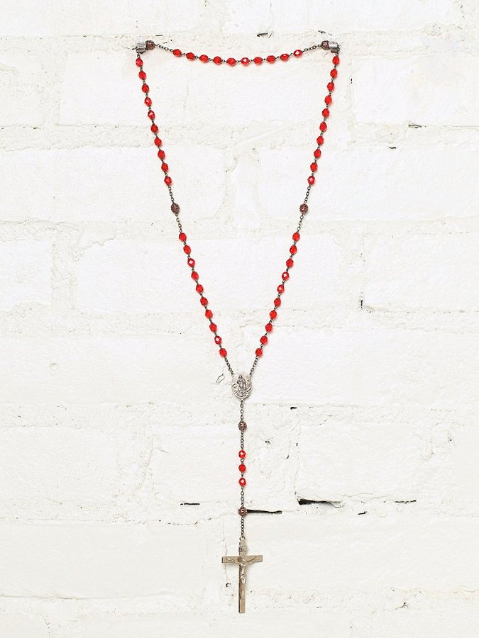 Free People Vintage Red Beaded Rosary Necklace