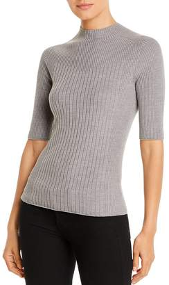 Donna Karan Ribbed Elbow-Sleeve Sweater
