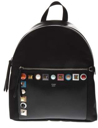Fendi Studded Black Fabric And Leather Backpack