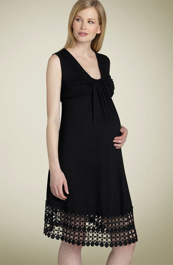 Maternal America Maternity Crochet Trim Flutter Dress