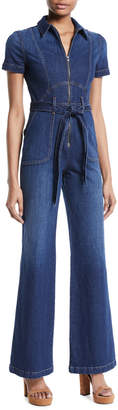 Alice + Olivia Ao.La By Alice+Olivia Gorgeous Wide-Leg Fitted Denim Jumpsuit