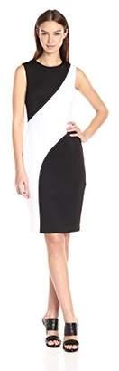 Calvin Klein Women's Sleeveless Round Neck Scuba Sheath Dress with Back Zipper