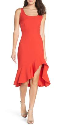 NSR Cristi Ruffle Hem Midi Dress