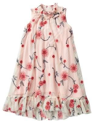 Iris & Ivy Allover Embroidered Mesh Trapeze Dress (Little Girls)