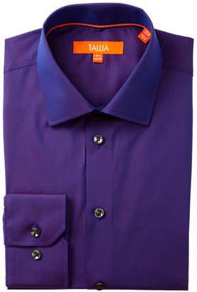 Tallia Polka Dot Trim Fit Dress Shirt