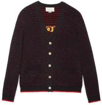 Gucci Wool cardigan with lamb intarsia