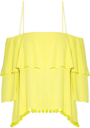Alice + Olivia (アリス オリビア) - Alice + Olivia - Meagan Off-the-shoulder Embellished Crepon Top - Bright yellow