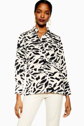 Topshop Angled Pocket Tiger Shirt