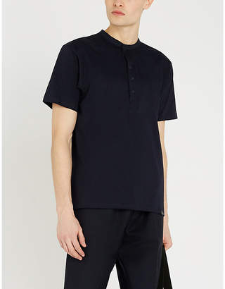 The Kooples Buttoned collar cotton-jersey T-shirt