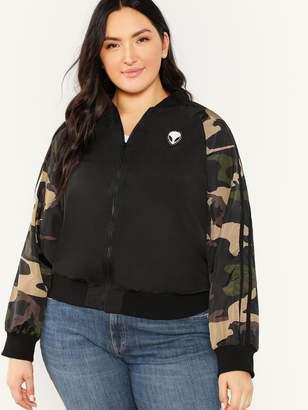 SheinShein Plus Raglan Sleeve Camo Print Jacket