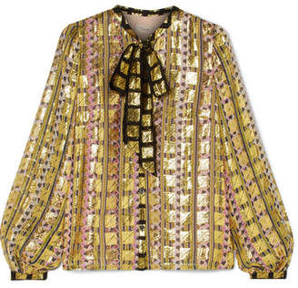 Temperley London Pussy-bow Printed Fil Coupé Chiffon Blouse - Gold