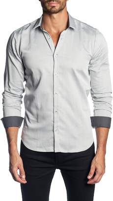 Jared Lang Trim Fit Micro Print Sport Shirt