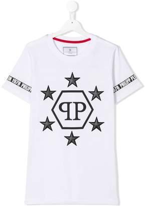 Philipp Plein Junior TEEN star patch logo T-shirt