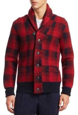 Kent & Curwen Cranwell Plaid Shawl Collar Cardigan