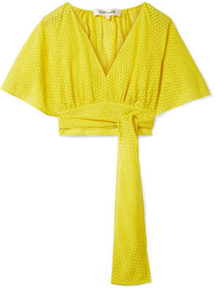 Diane von Furstenberg Cropped Devoré-voile Wrap Blouse - Bright yellow