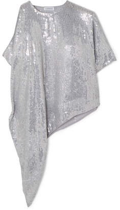 3dbf36de09339 Ashish Asymmetric Sequined Georgette Top - Silver