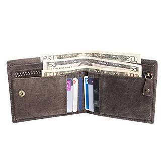 Men's RFID Blocking Cowboy Leather Bifold Wallet with Zip