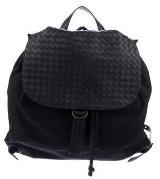 Bottega Veneta Intrecciato-Trimmed Woven Backpack